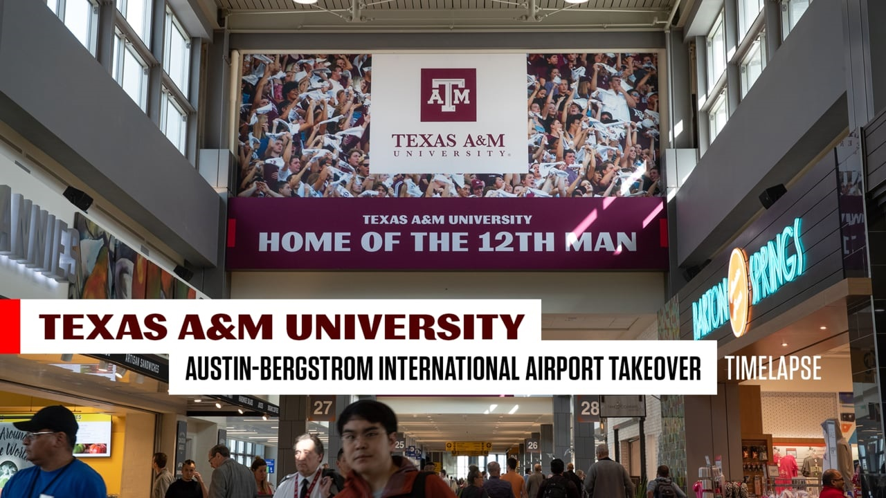WATCH: Texas A&M takes over gate at Austin-Bergstrom Airport
